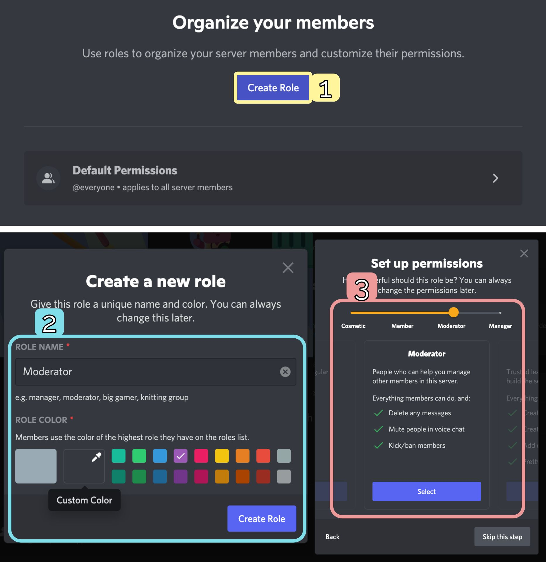Screenshots showing how to add and customize new roles in a Discord server.