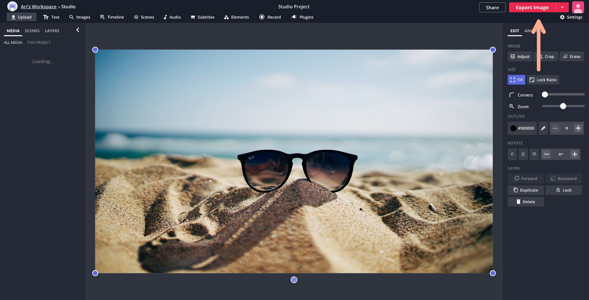 screenshot showing how to export an image in Kapwing Studio