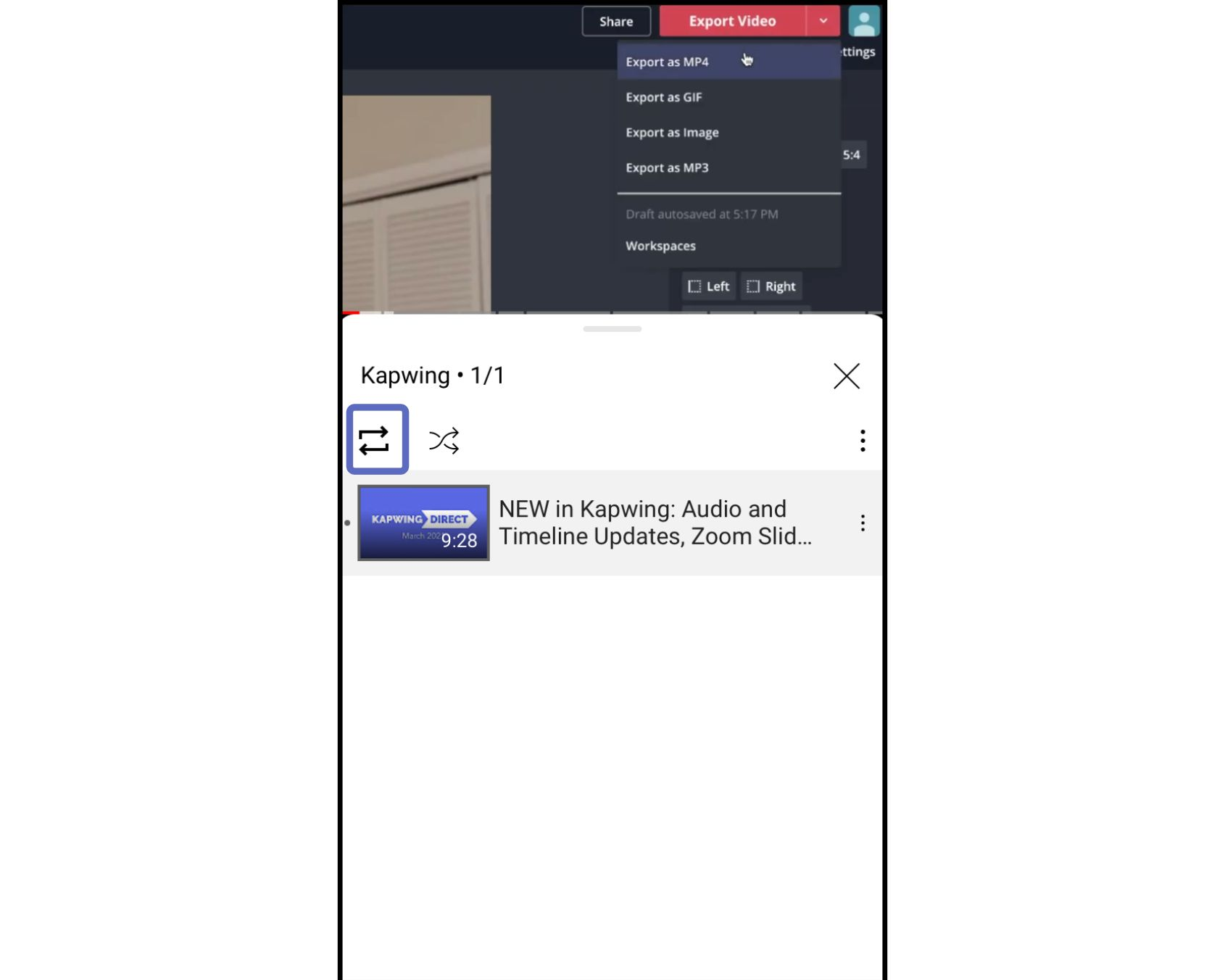 picture showing how to loop a youtube video on mobile