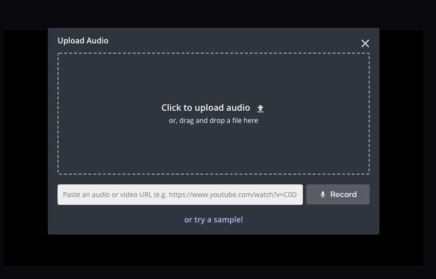 Kapwing's audio upload screen. There is a box where users can click to upload an audio file. Below it, there is a box where users can drop a Youtube link.