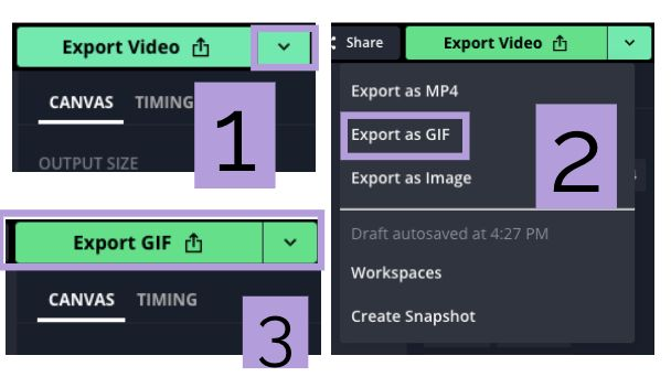 Screenshots of the Export button in Kapwing, showing the process of exporting a video as a GIF