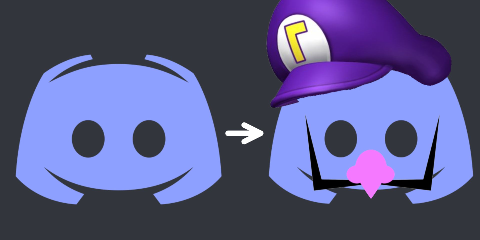 A picture of the default Discord logo, along with a version with a Waluigi hat and features.