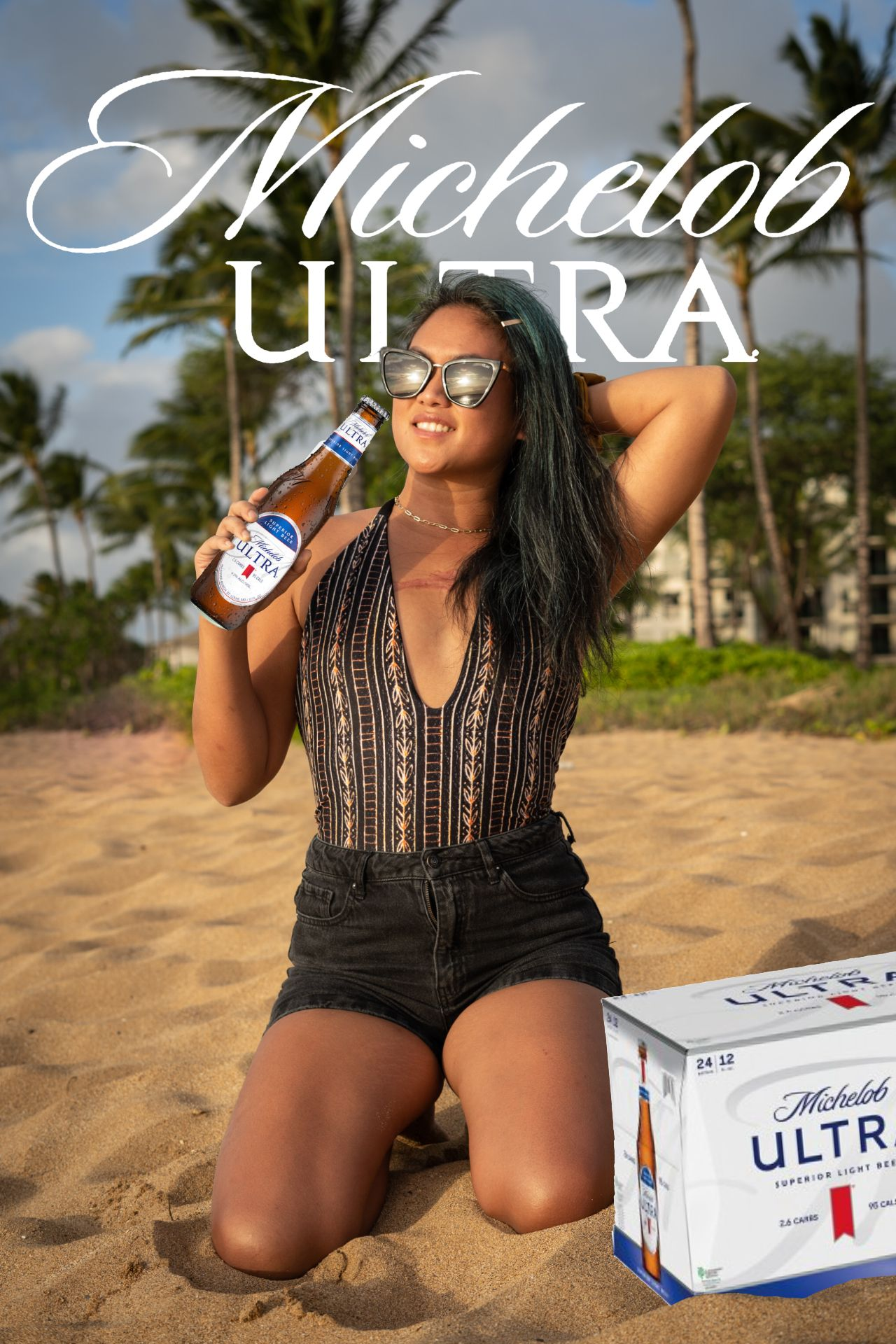 An example of the TikTok Beer Poster trend using the Michelob Ultra brand.