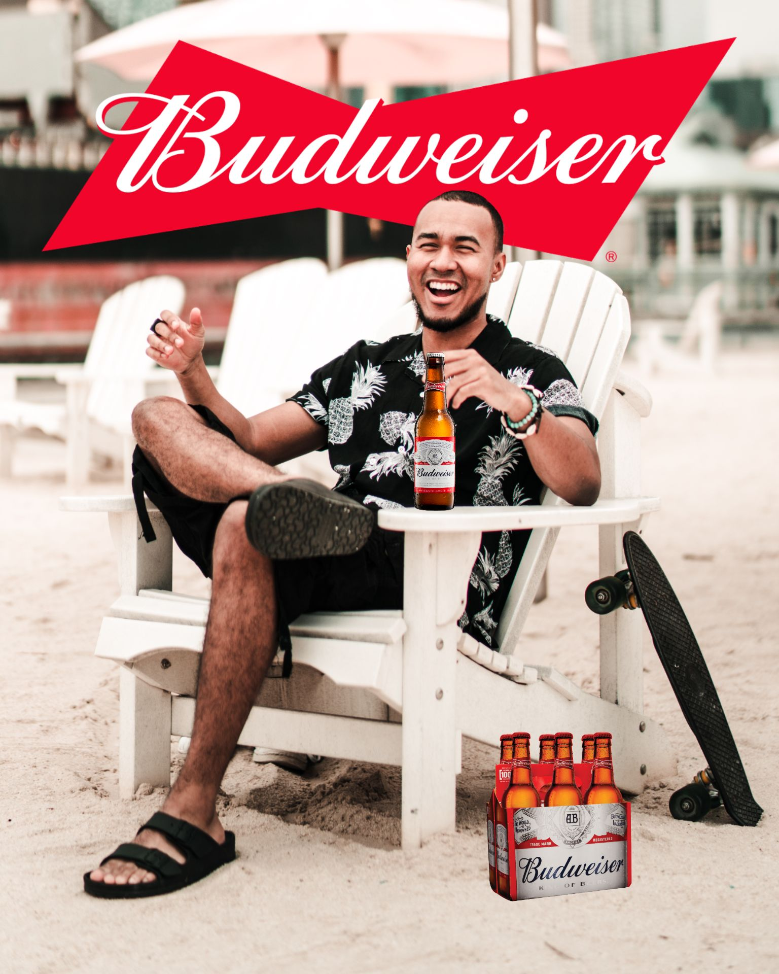 An example of the TikTok Beer Poster trend using the Budweiser brand.