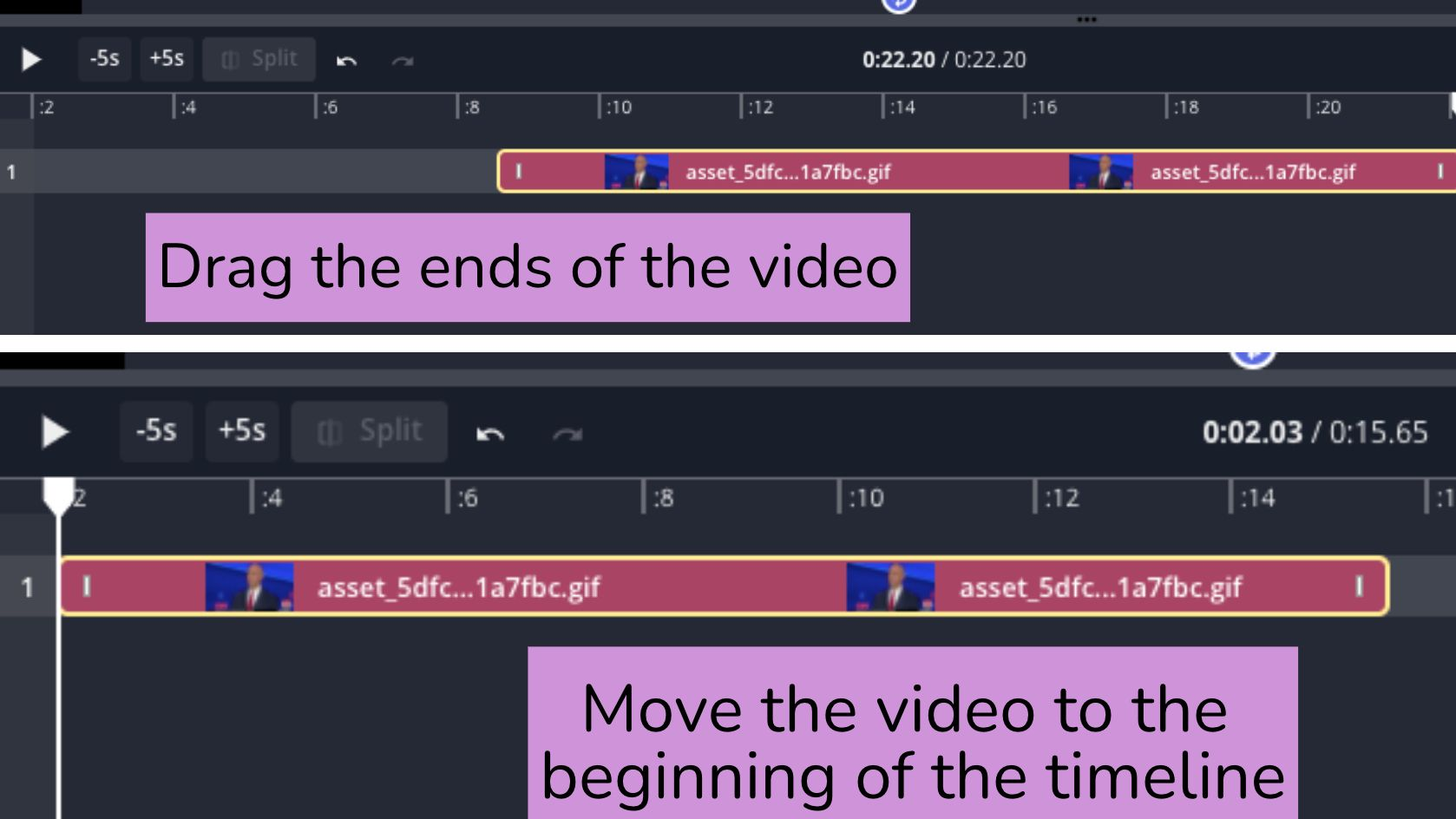 A screenshot of the Kapwing timeline, showing the process of trimming a video.