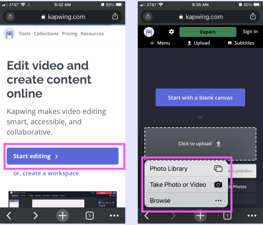 Screenshots demonstrating how to upload a converted Live Photo to Kapwing.