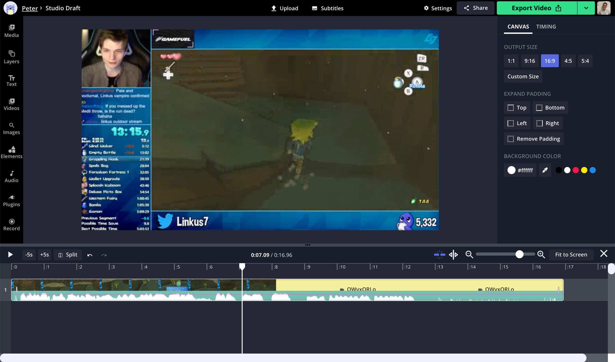 A screenshot of a Twitch Clip being edited in the Kapwing Studio.