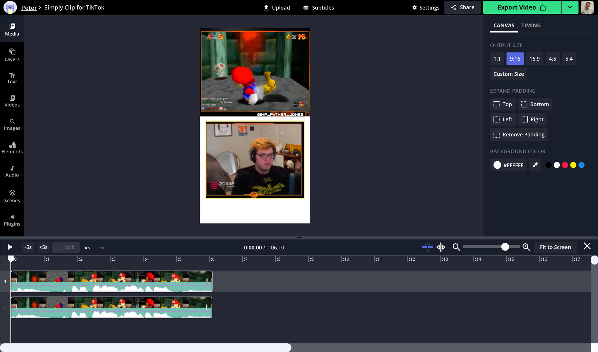 A screenshot showing how to reformat Twitch Clips for TikTok in the Kapwing Studio.