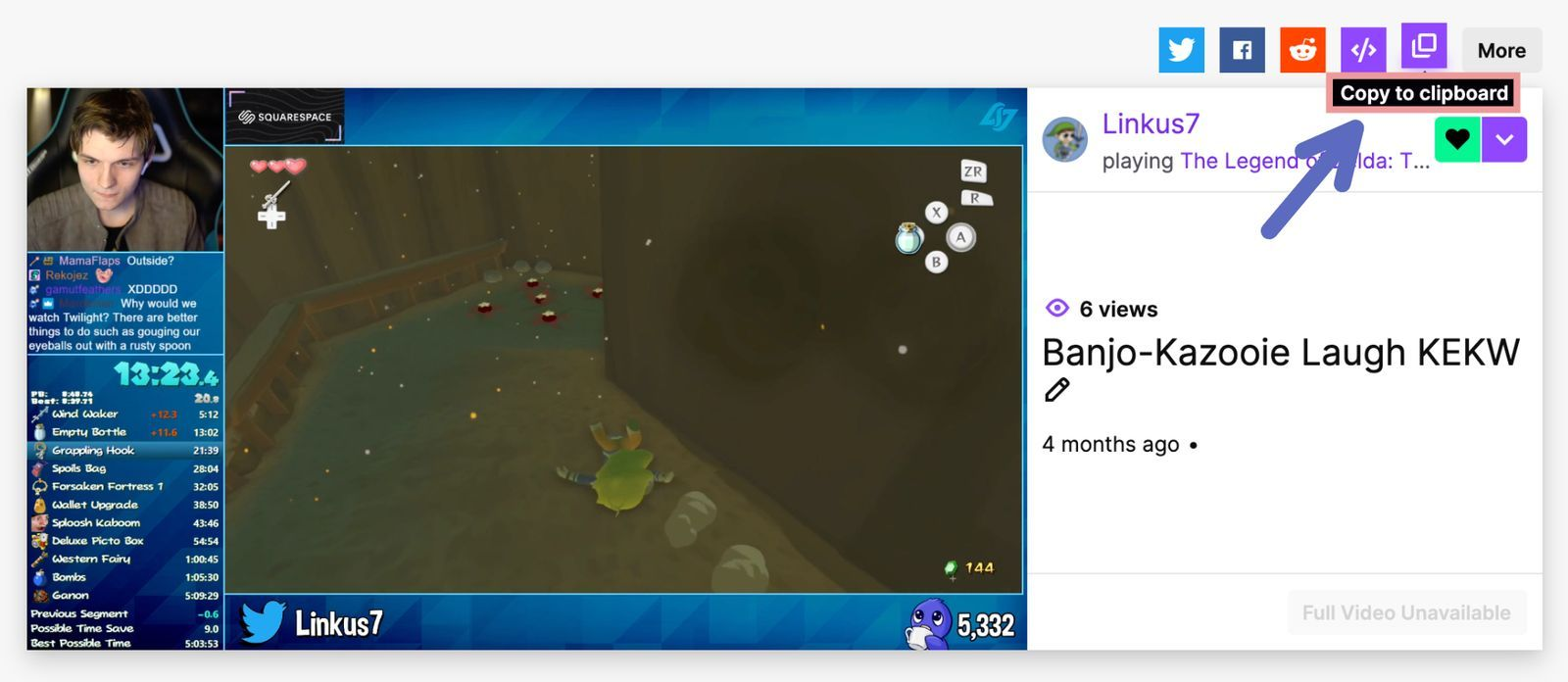 A screenshot showing how to copy the link to a Twitch Clip.