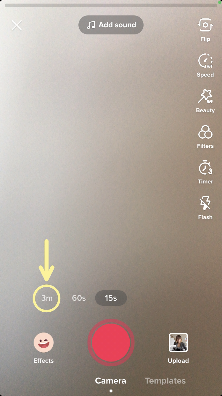 A screenshot showing how to record longer TIkTok videos with the 3 minute limit.