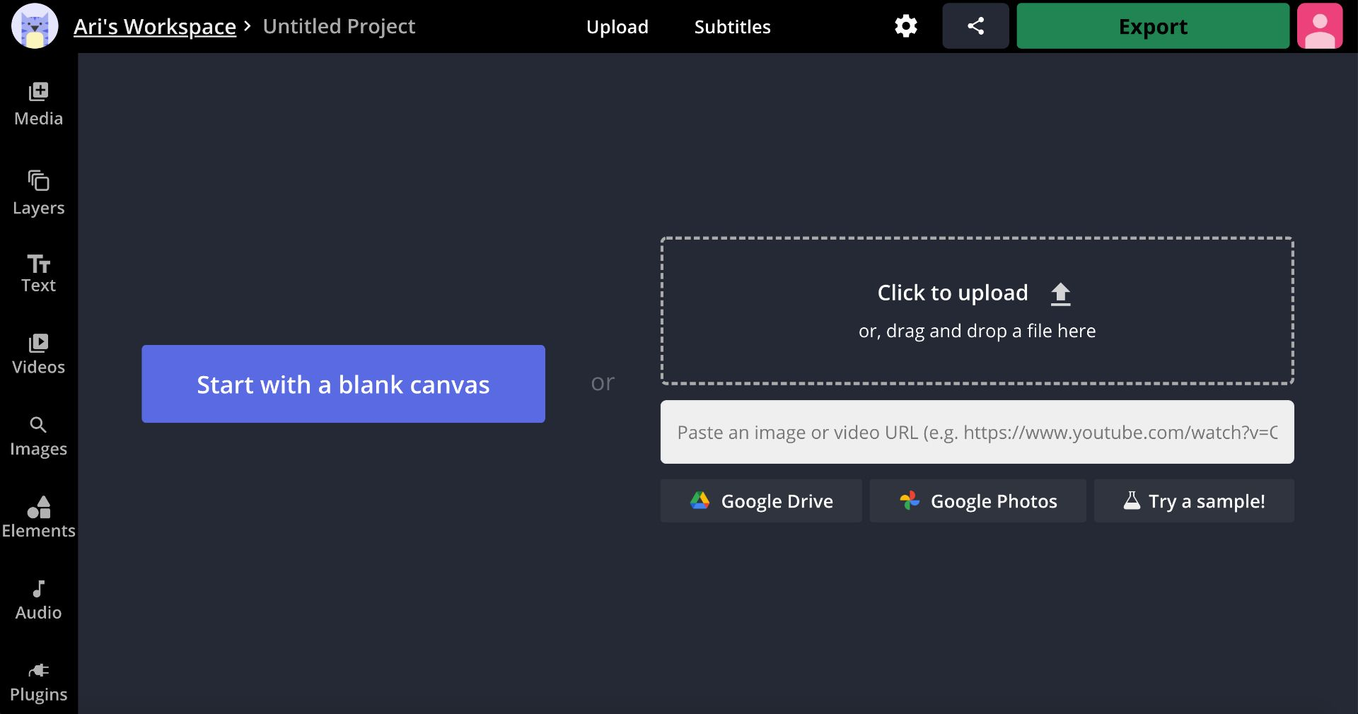 A screenshot of the Kapwing upload modal for videos.