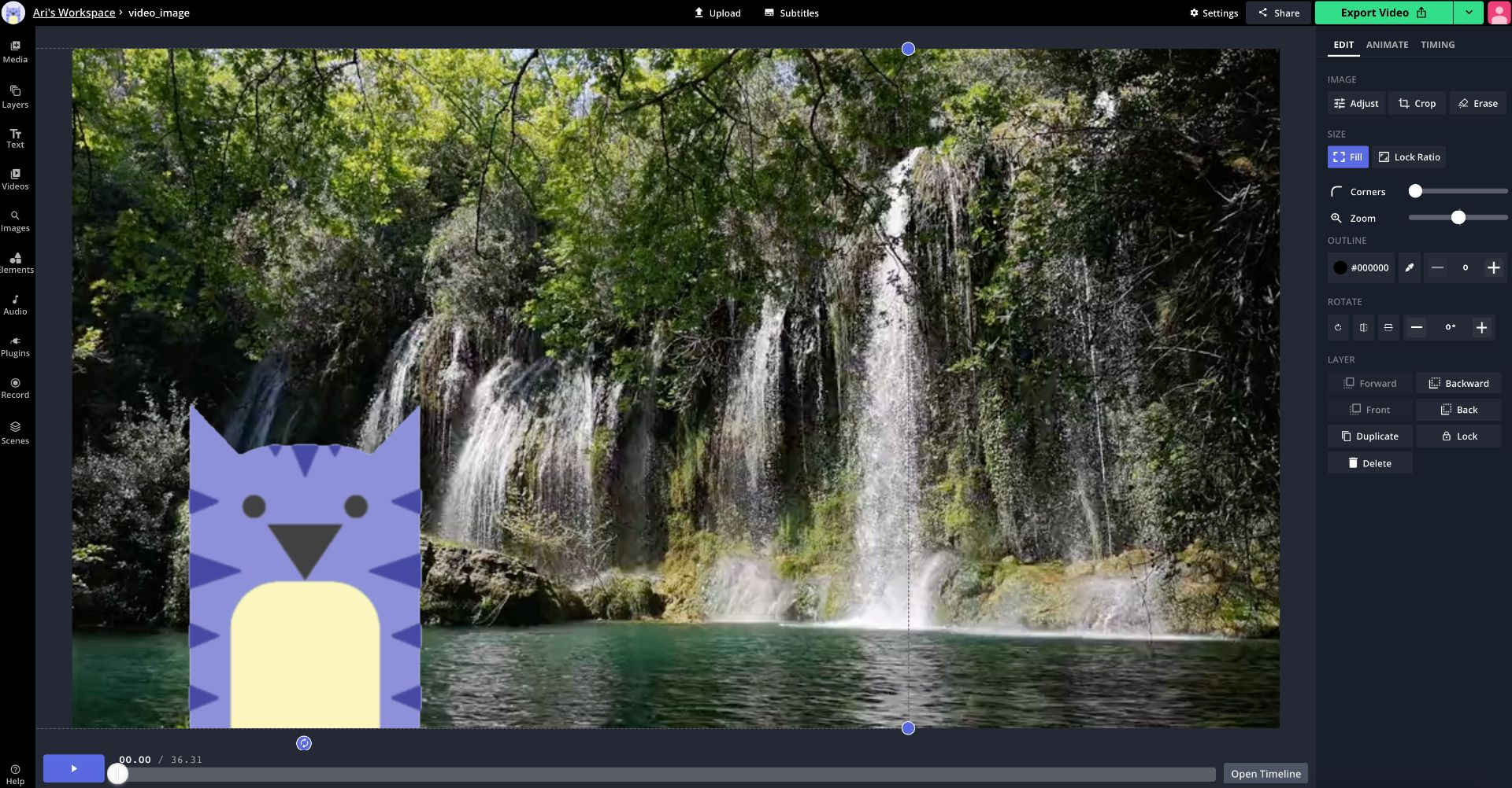 A screenshot showing how to add pictures to videos in the Kapwing Studio.