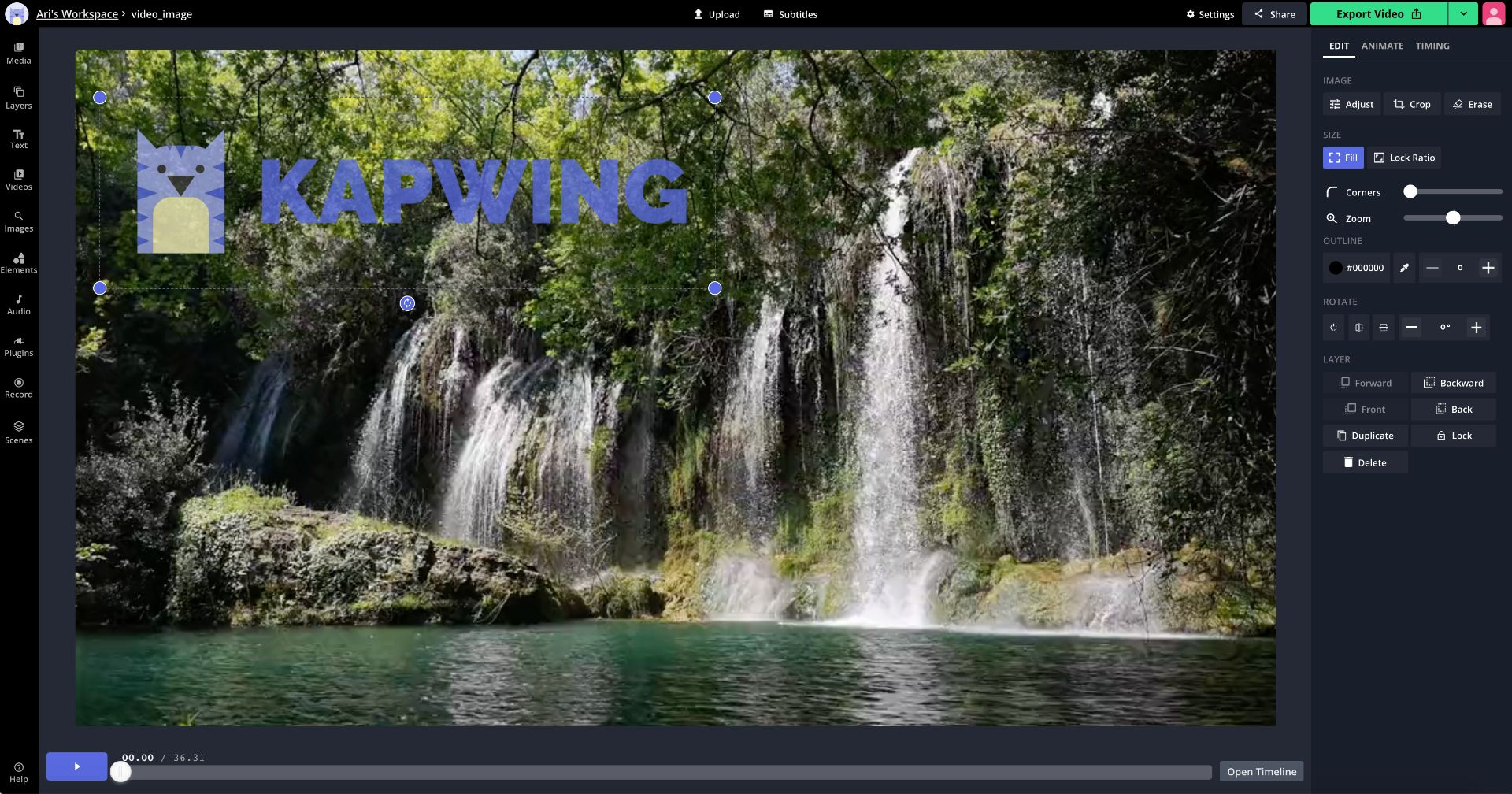 A screen recording showing how to resize and rearrange photos in Kapwing.