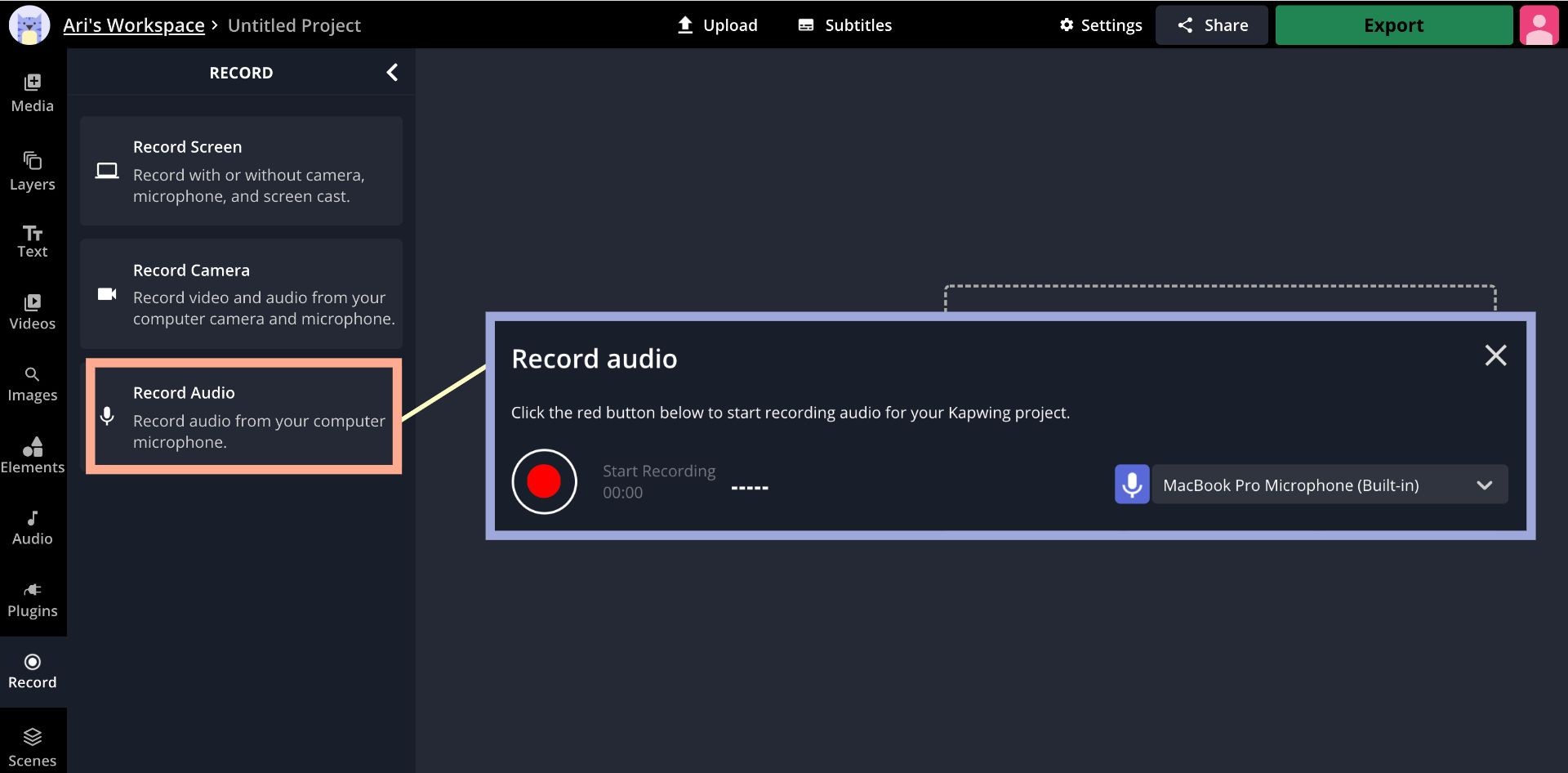 A screenshot from the Kapwing Studio, demonstrating how to record audio from a microphone input.