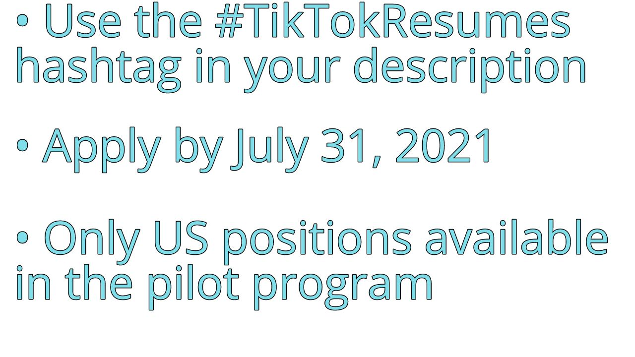 An overview of the rules for TikTok Resumes.
