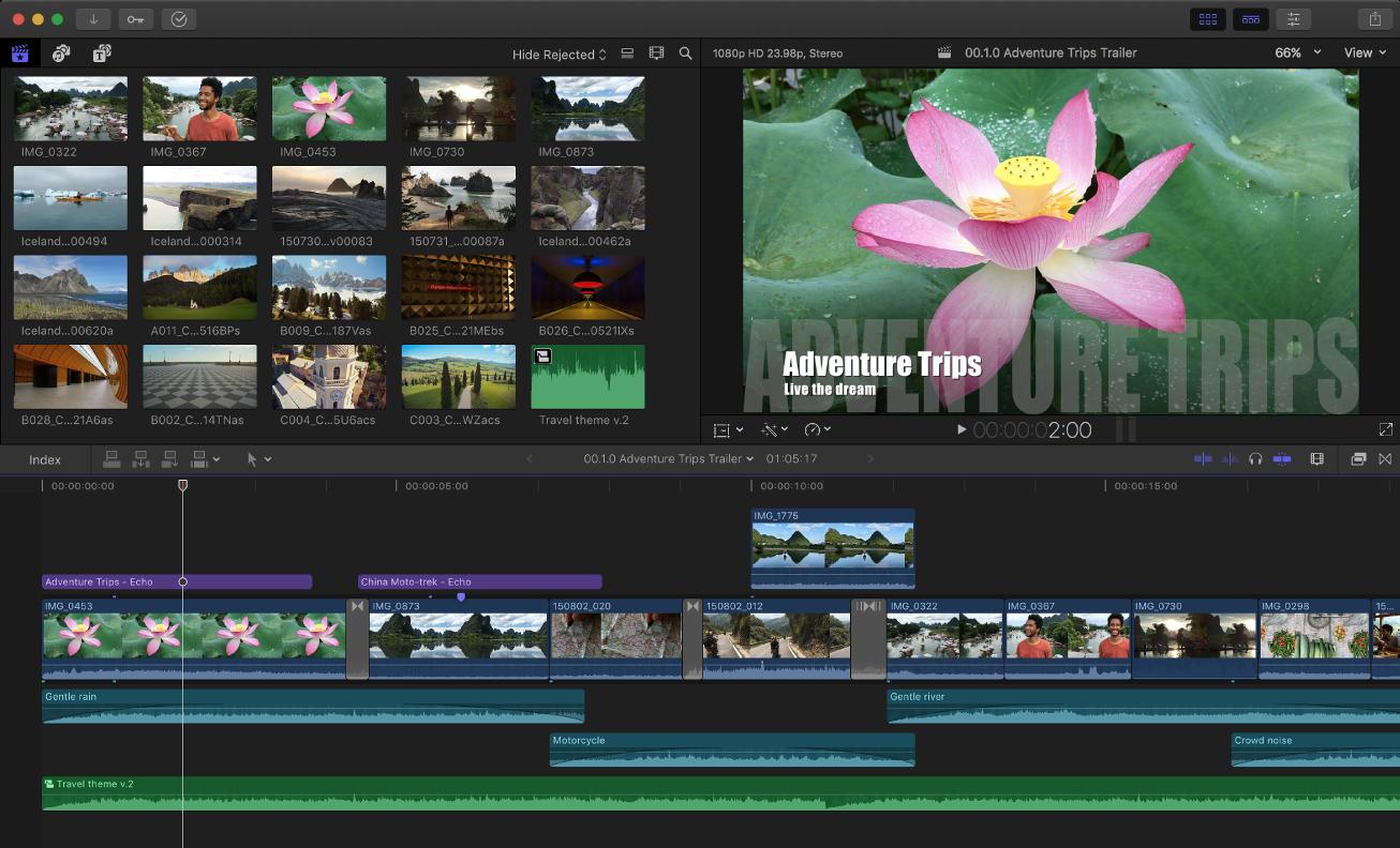 A screenshot of the user interface of Final Cut Pro.