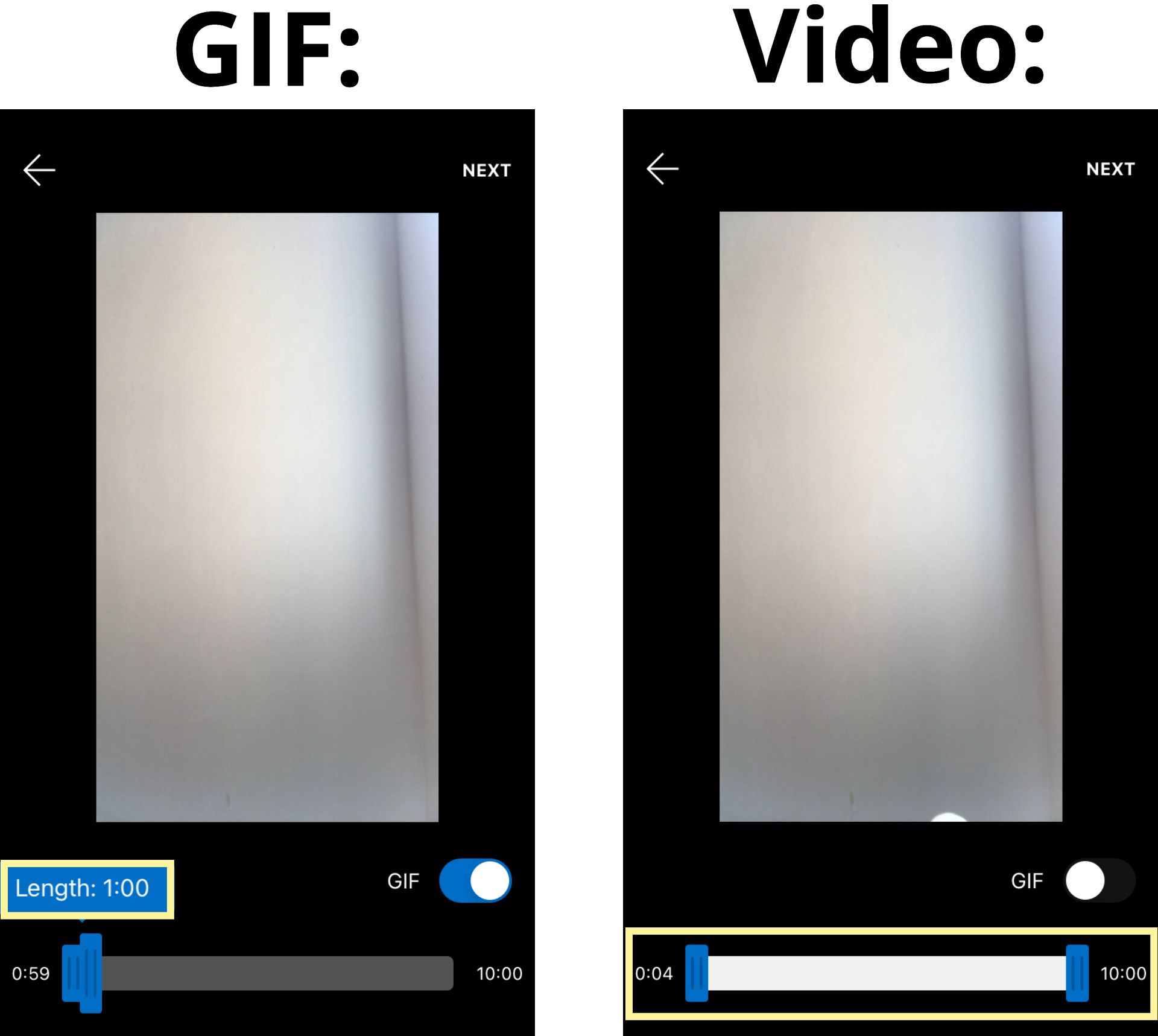 Screenshots showing the length limits for video and GIF posts in the Reddit video feed.