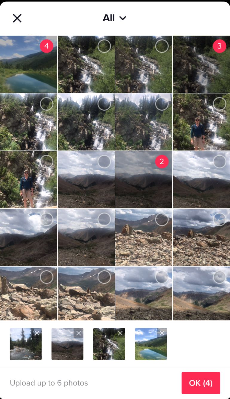 A screenshot showing how to select photos to use in a TikTok template.