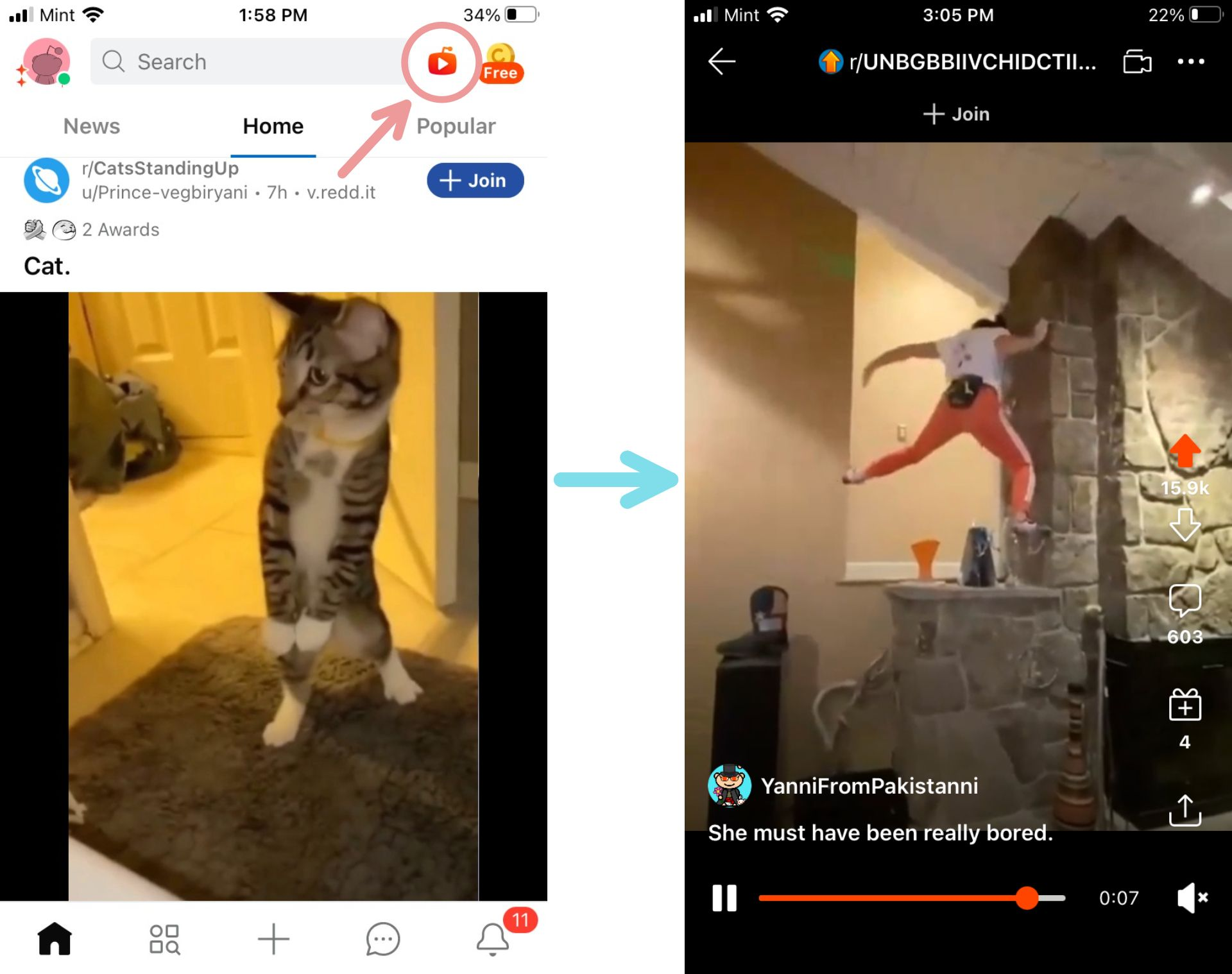 Screenshots showing the location and appearance of the new Reddit video feed.