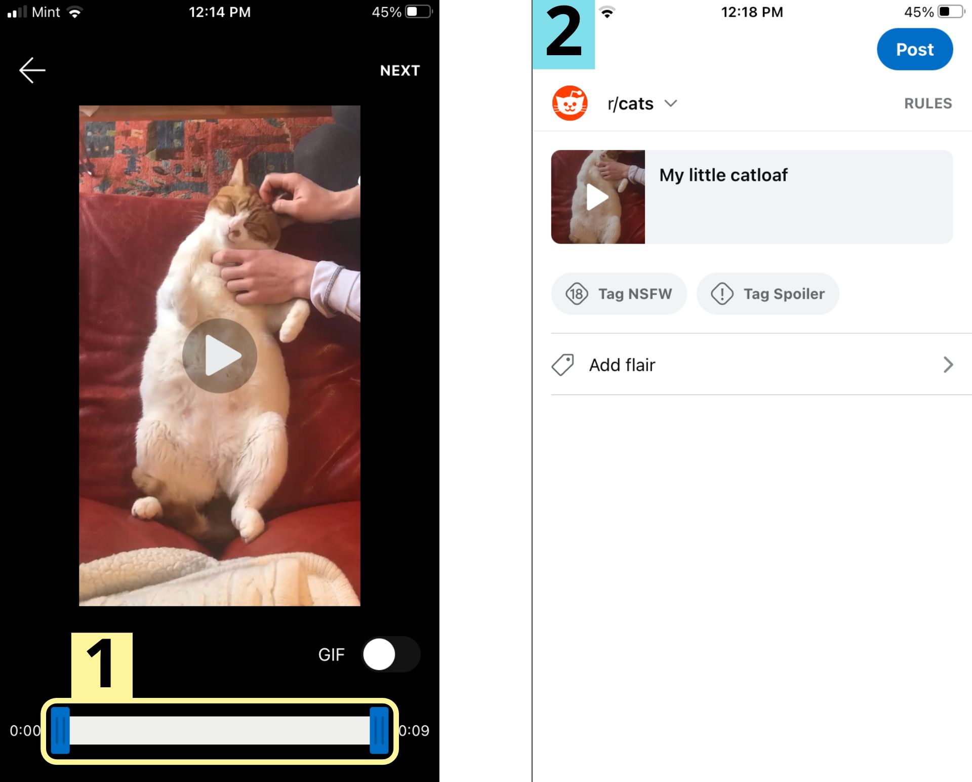 Two screenshots showing how to post videos to Reddit from the mobile video feed.