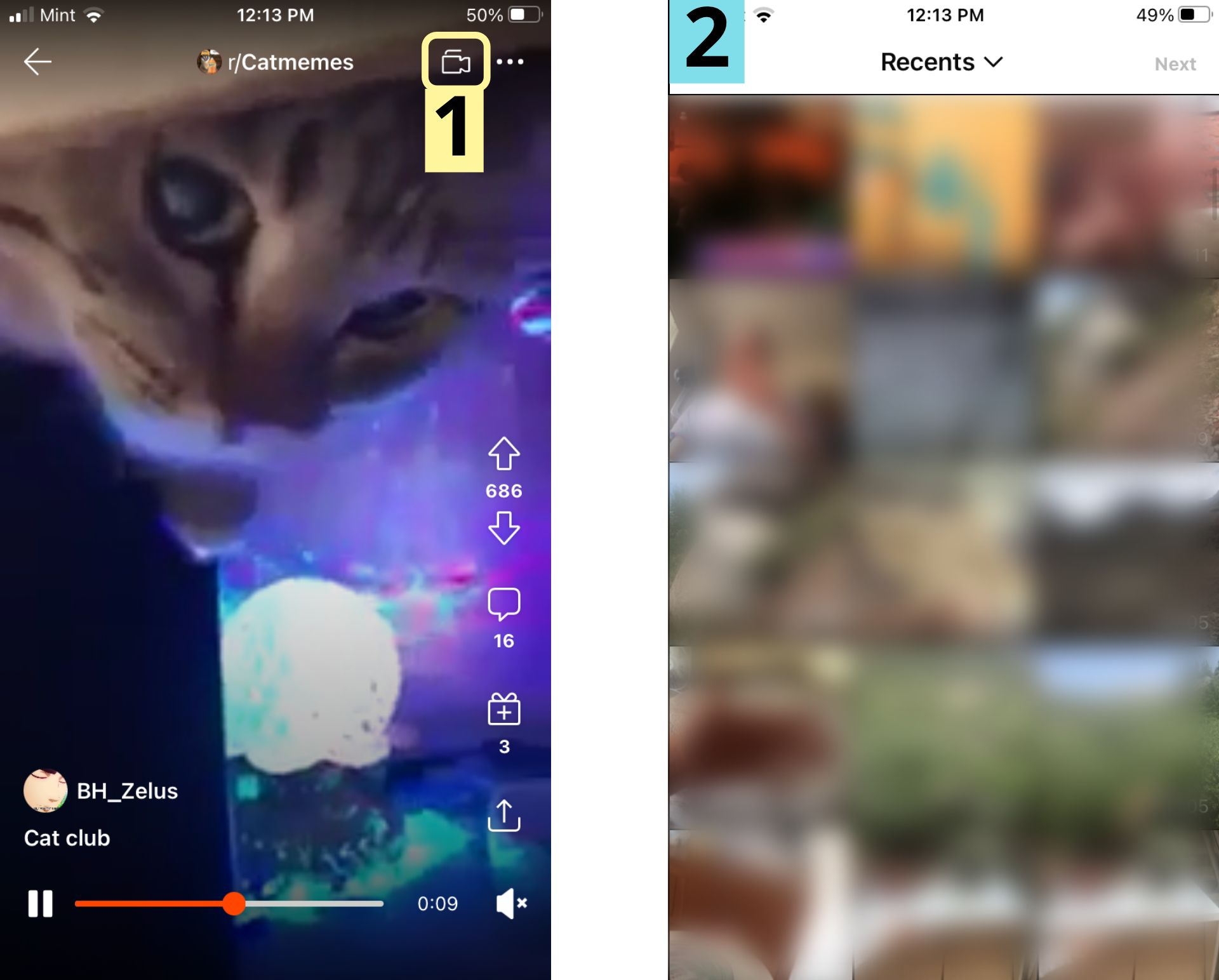 Two screenshots showing how to start creating a video post in the Reddit mobile video feed.