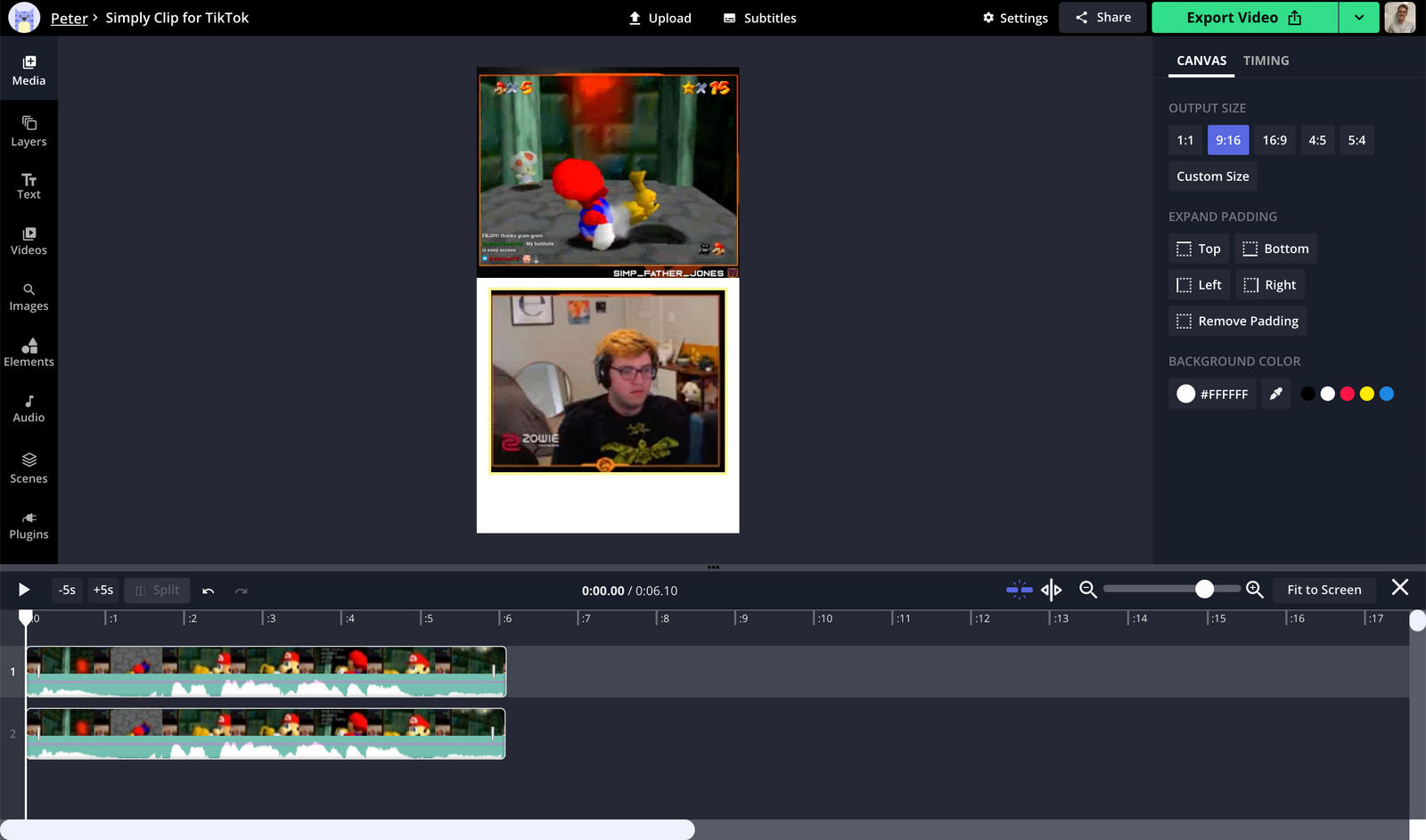 A screenshot showing how to arrange video layers in the Kapwing Studio.