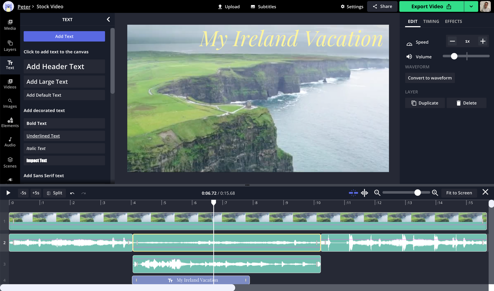 A screenshot of an audio track being edited in the Kapwing Studio.