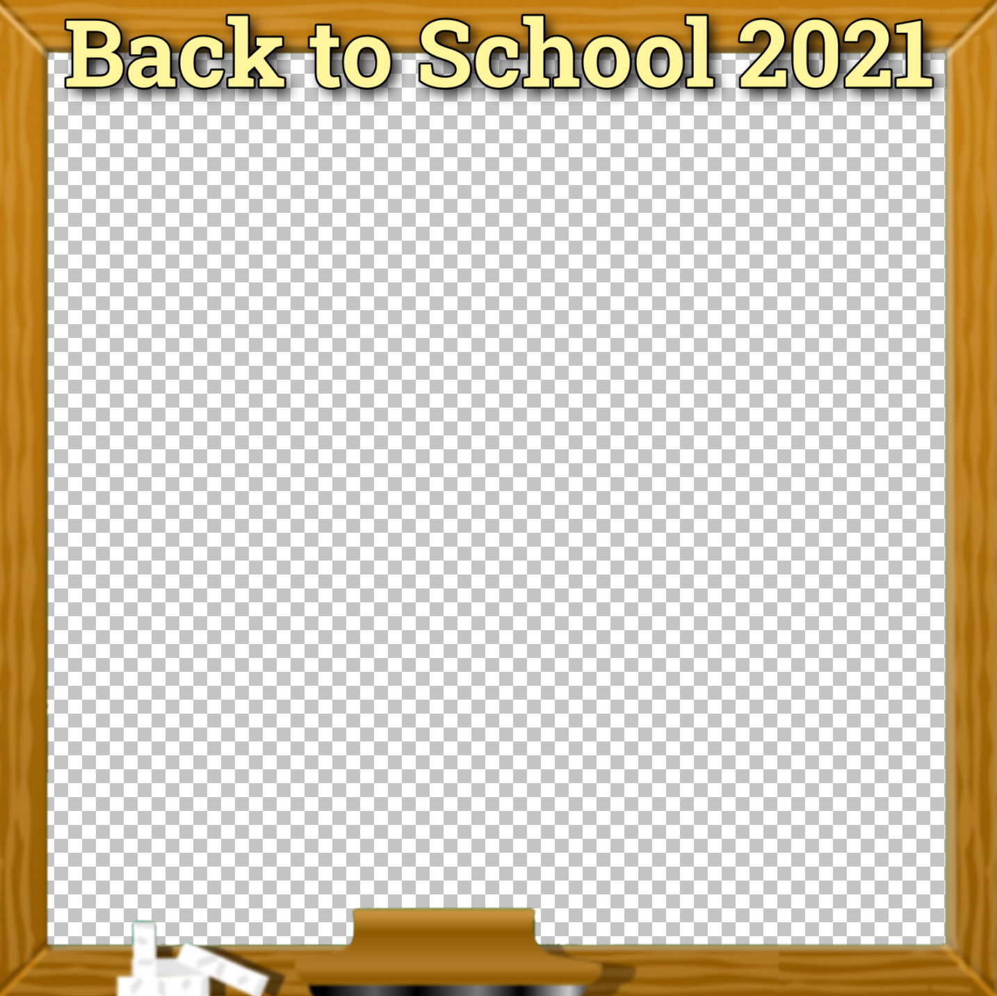 """A square photo frame with a chalkboard design and """"Back to School 2021"""" displayed."""