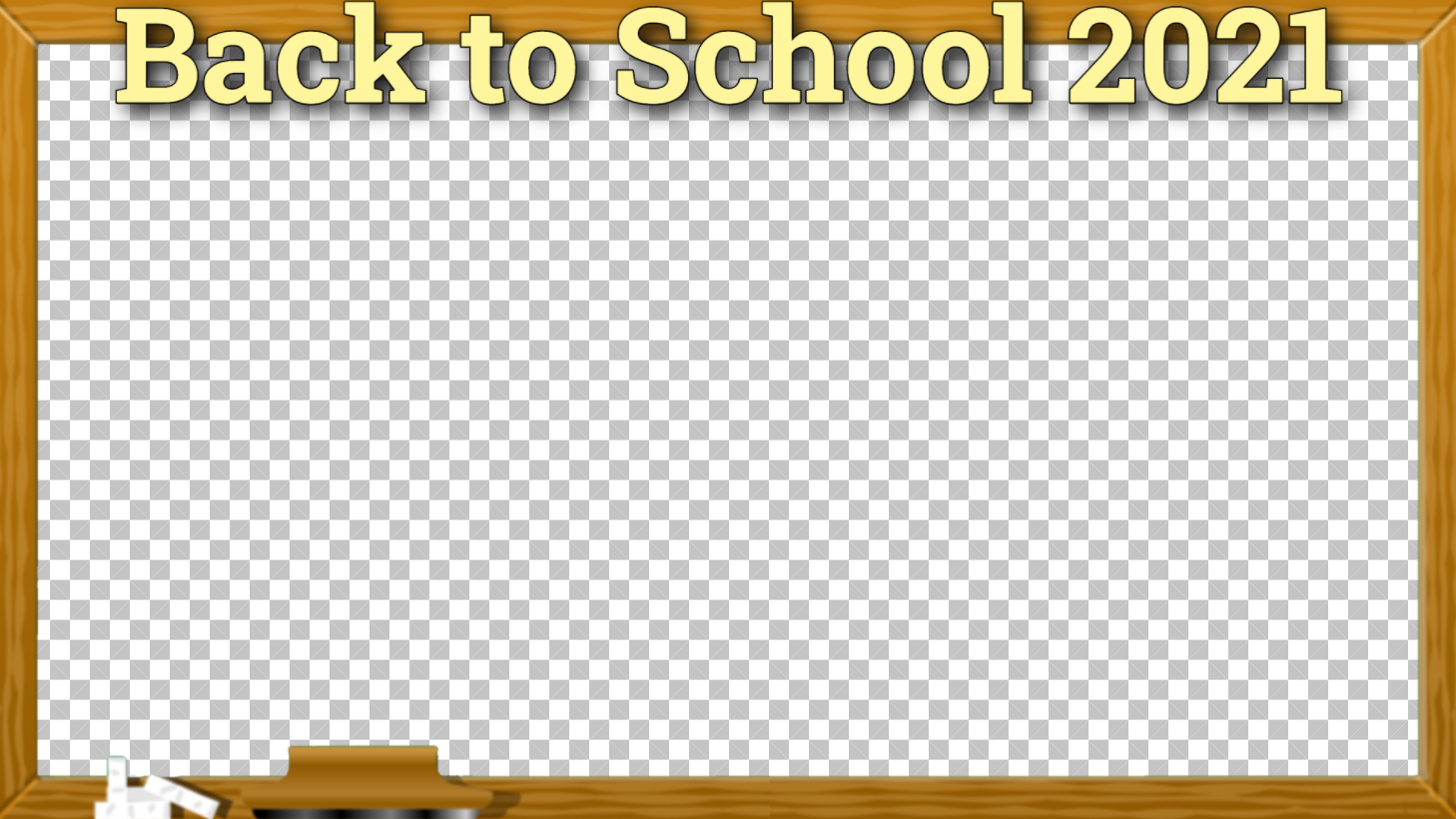"""A 16:9 photo frame with a chalkboard design and """"Back to School 2021"""" displayed."""