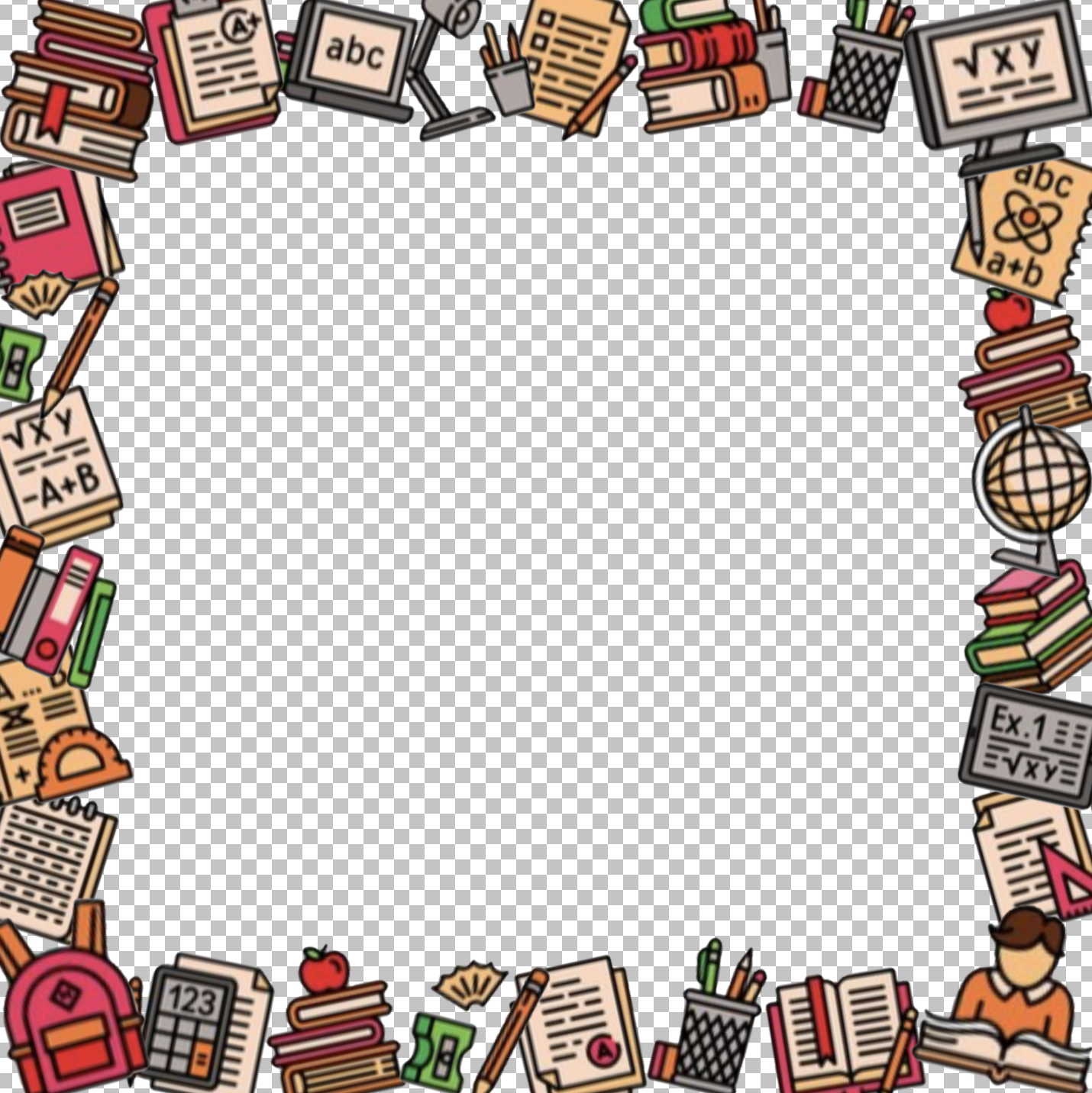 A square photo frame featuring many school supply icons around the edge.