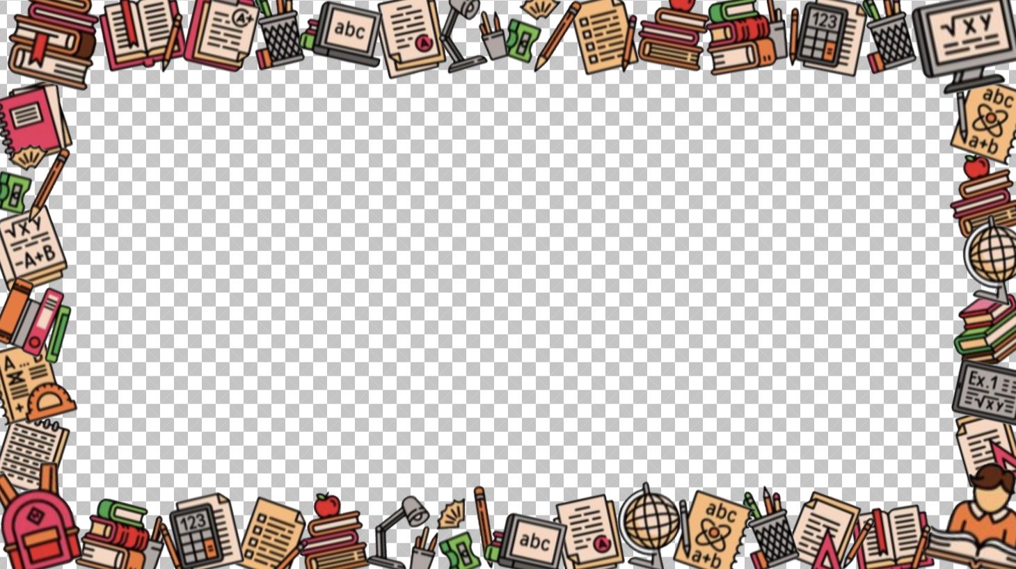 A 16:9 photo frame featuring many school supply icons around the edge.