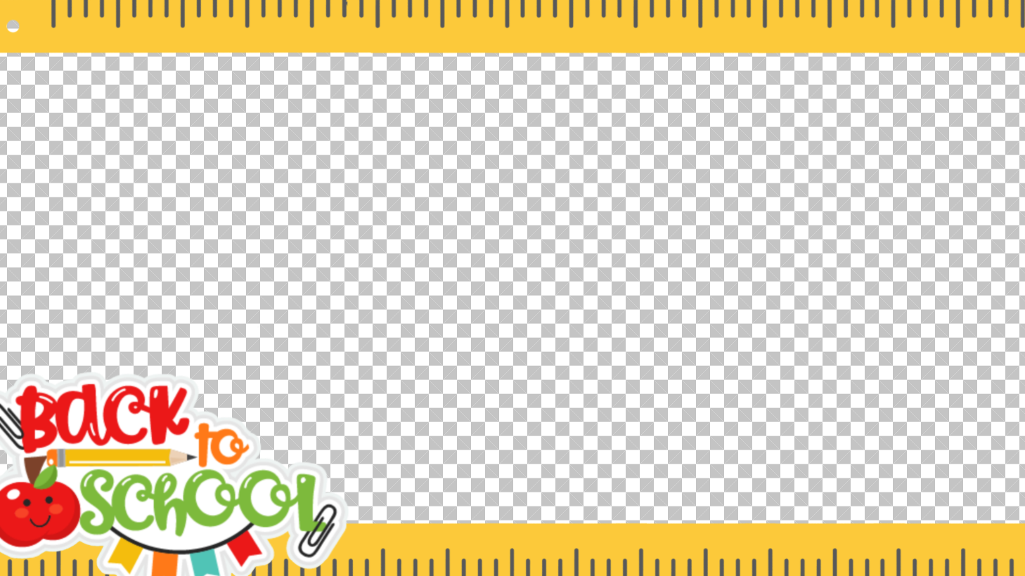 A 16:9 photo frame featuring a border made from rulers and a Back to School sticker.