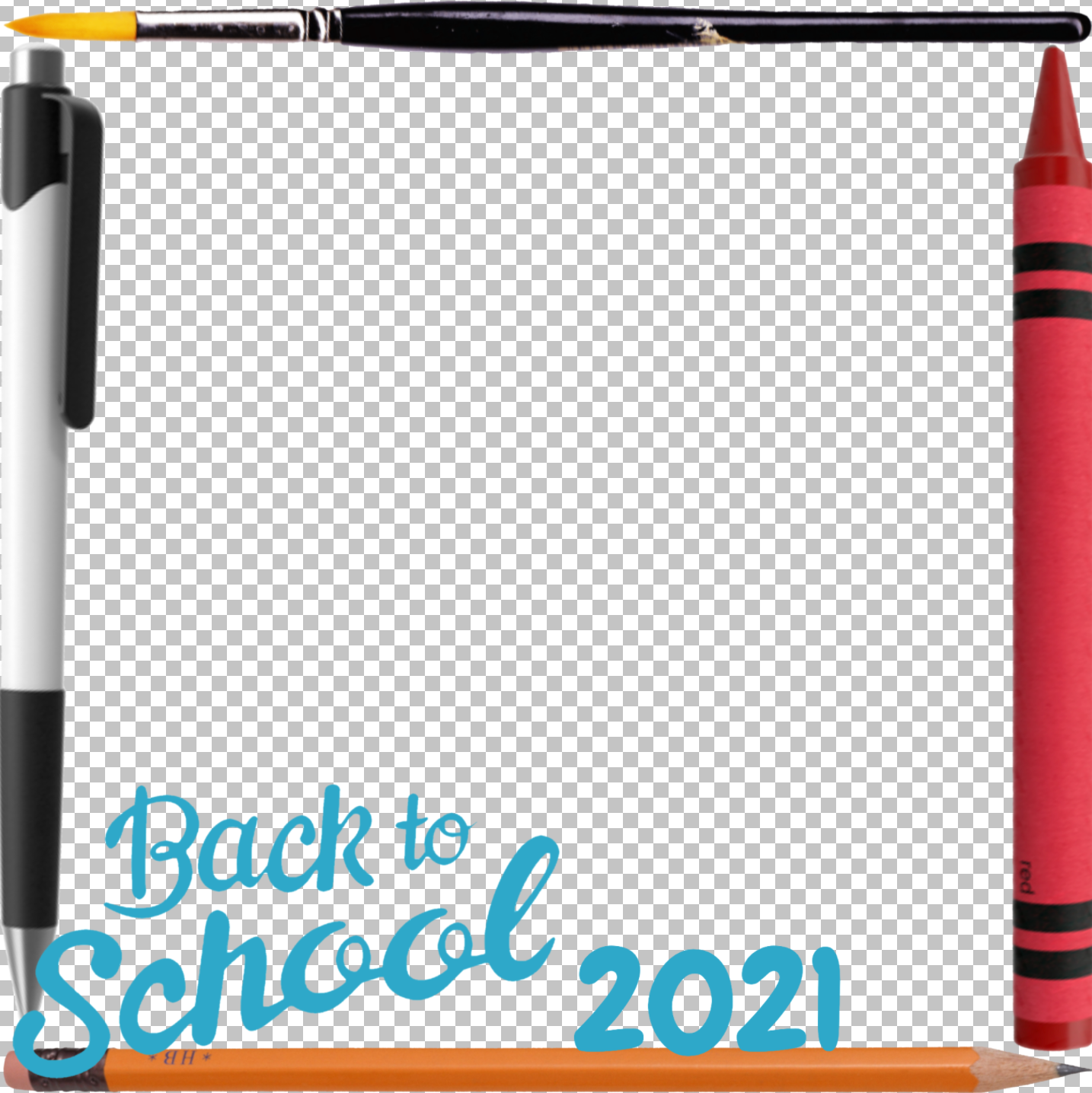 """A square photo frame featuring writing utensils around the border and displaying """"Back to School 2021."""""""