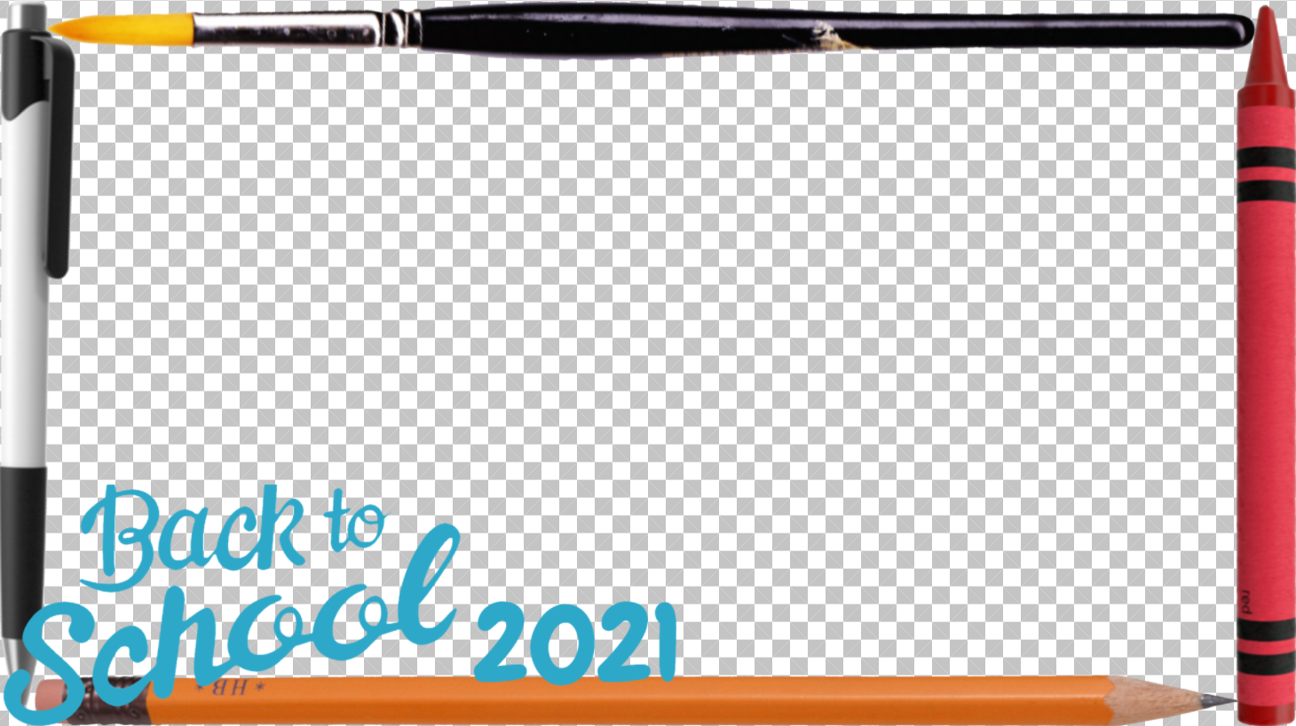 """A 16:9 photo frame featuring writing utensils around the border and displaying """"Back to School 2021."""""""