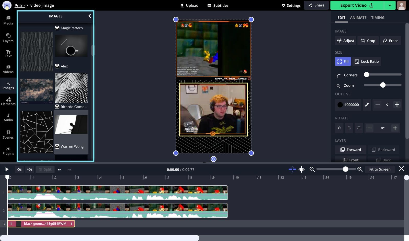 A screenshot showing how to add a background to a Twitch Clip in the Kapwing Studio.