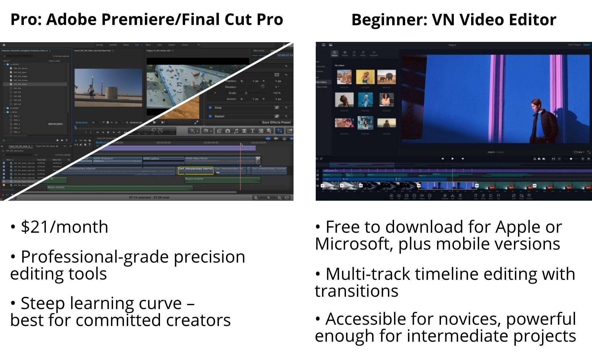 A graphic detailing the features of Adobe Premiere, Final Cut Pro, and VN Video Editor.