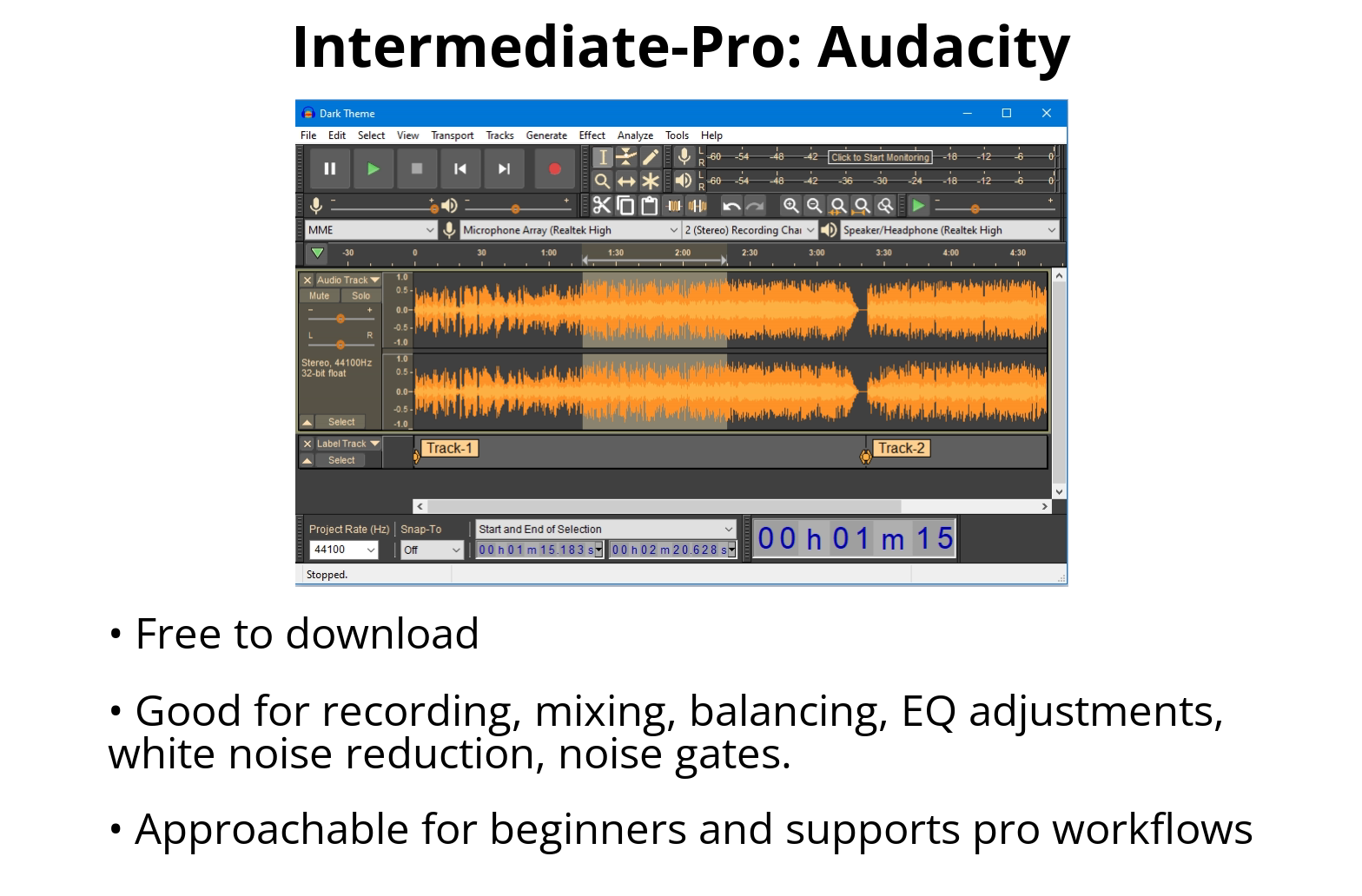 A graphic summarizing the features in Audacity.