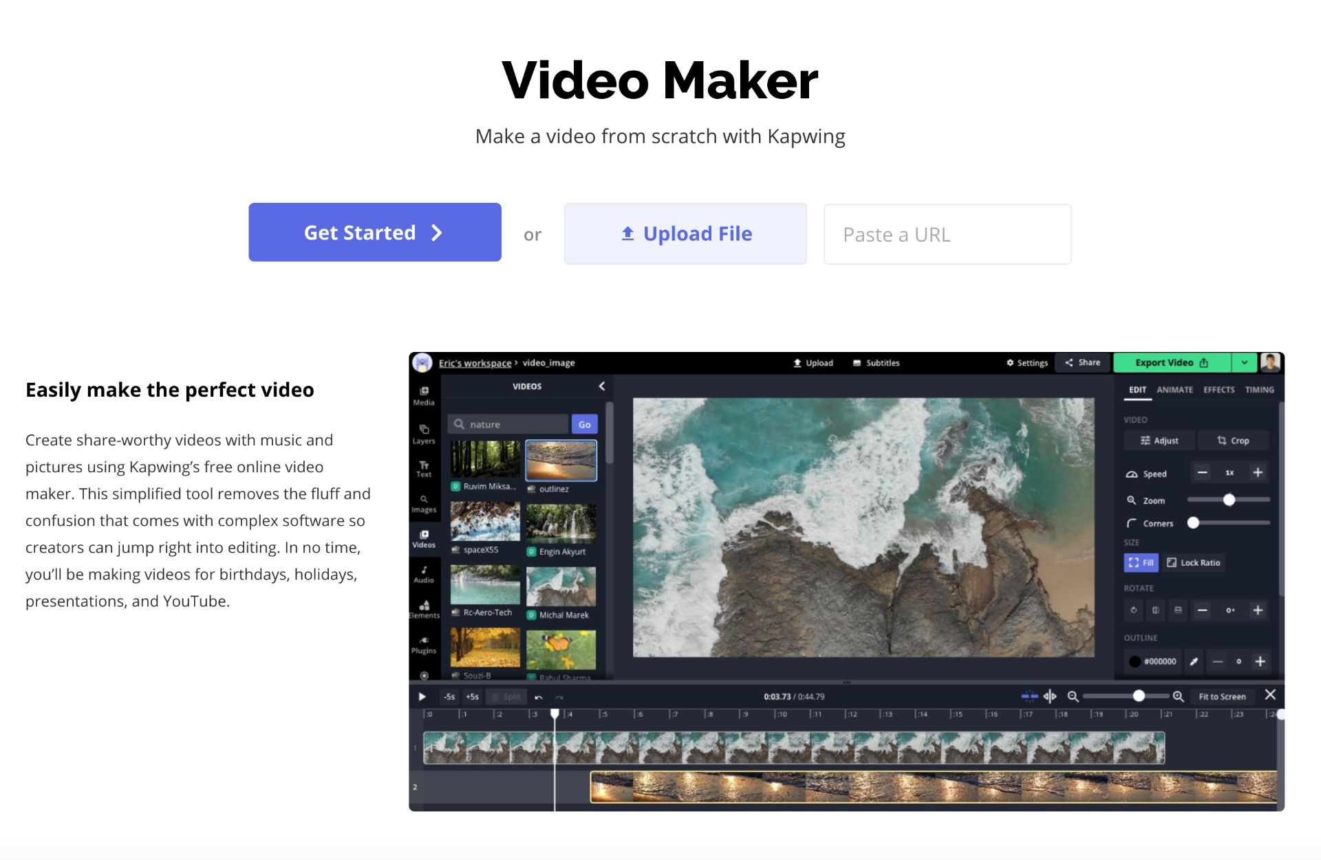 A screenshot showing how to upload photos and videos to Kapwing.