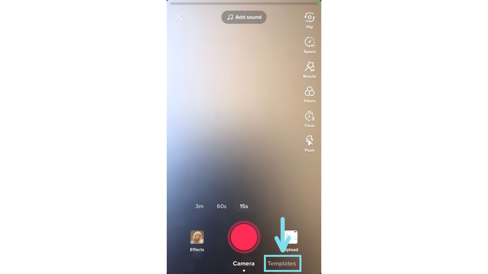 A screenshot pointing out the location of templates in TikTok.