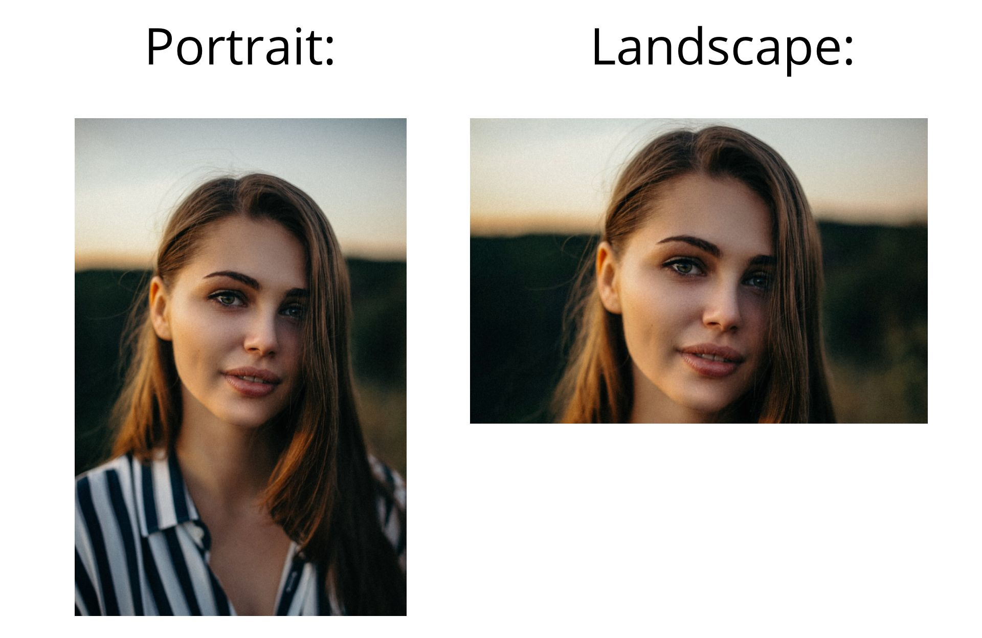 A portrait of a woman  in portrait and landscape orientations, showing the visual makeup of different aspect ratios.