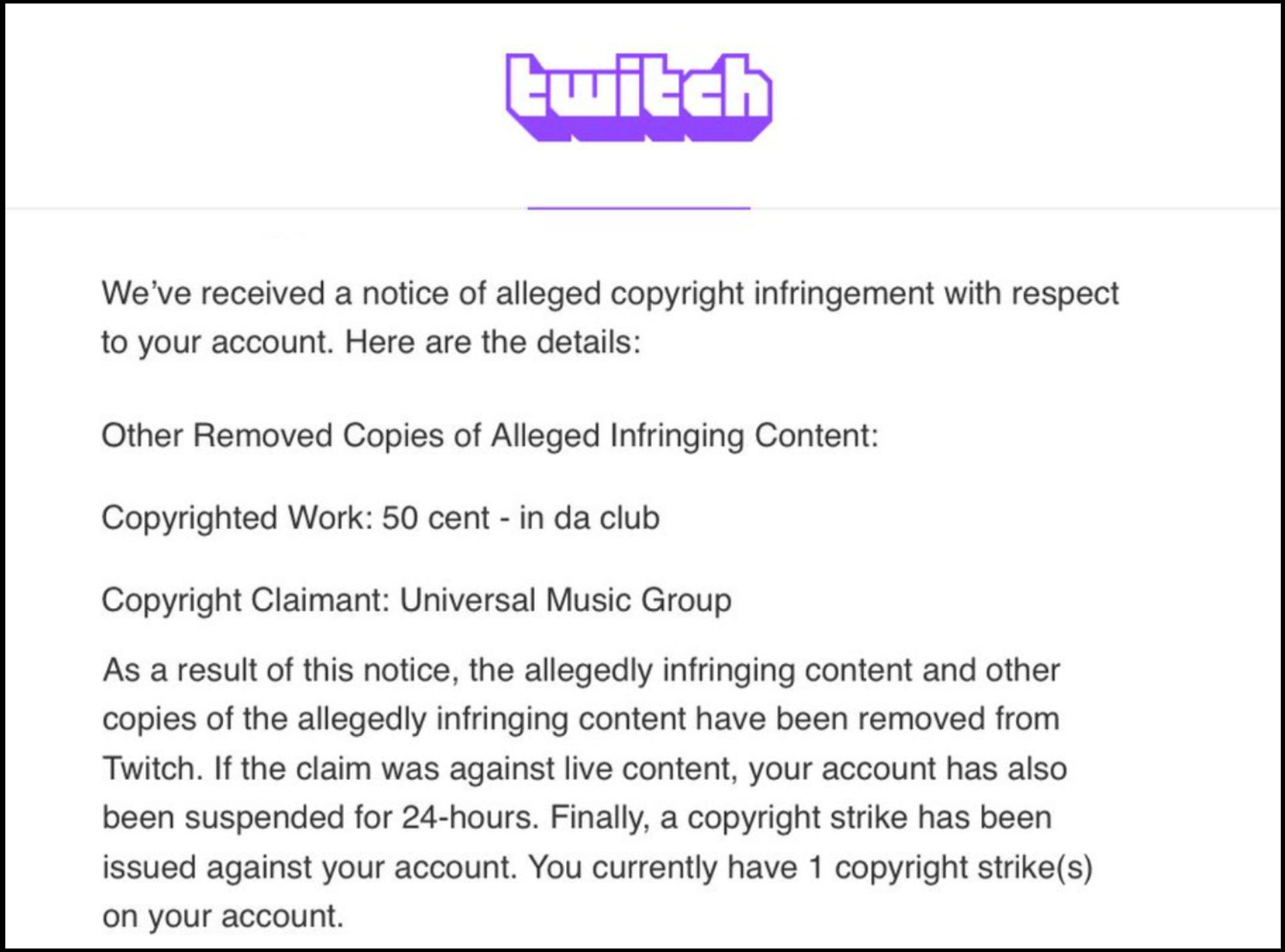 A screenshot of a DMCA violation message from Twitch.
