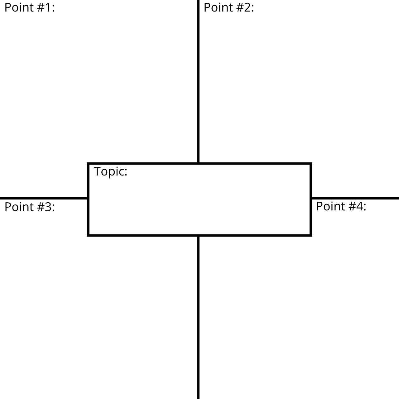 An example 4 Square Writing Chart template.