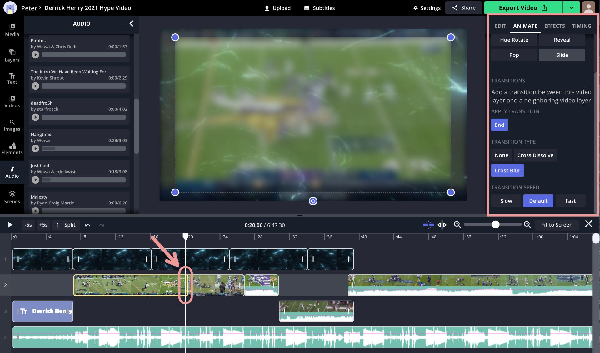 A screenshot showing how to add video transitions in the Kapwing Studio.