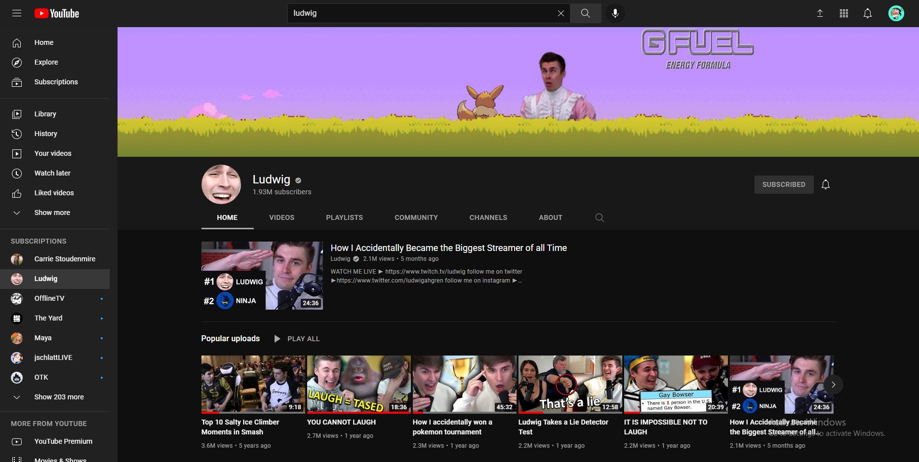 A screenshot displaying the home page of Ludwig's YouTube Channel