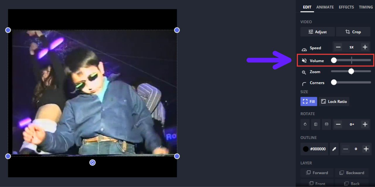 A screenshot showing how to mute a video's audio in the Kapwing Studio