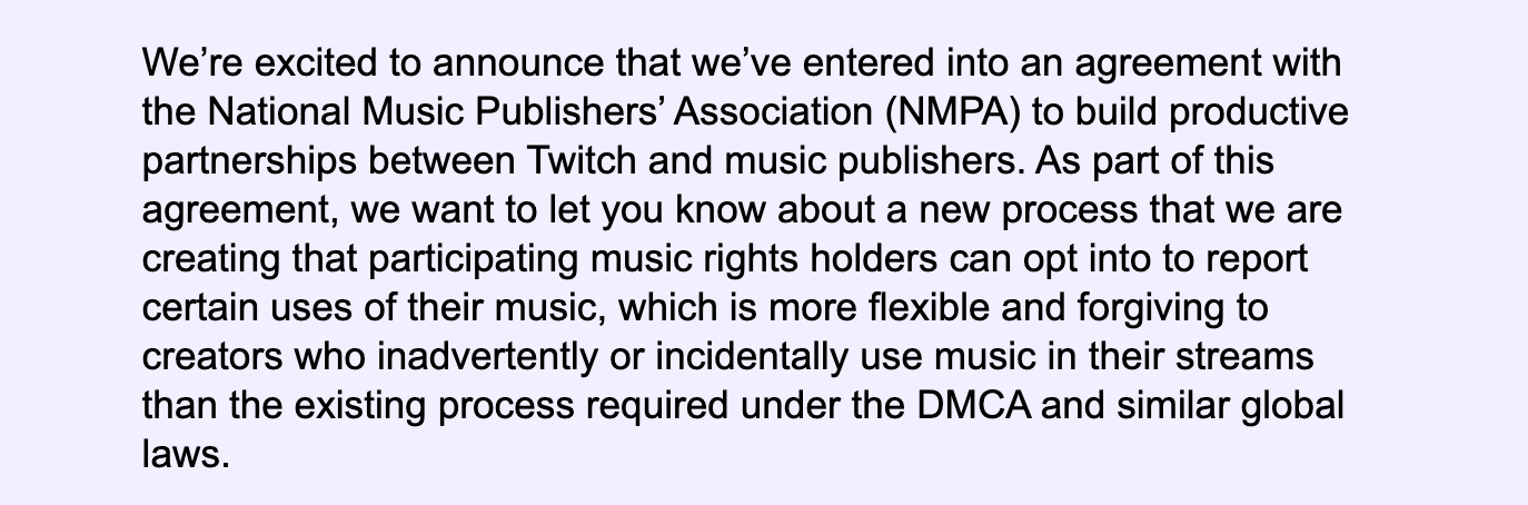 A screenshot of text sent by Twitch, announcing their new music licensing agreement.