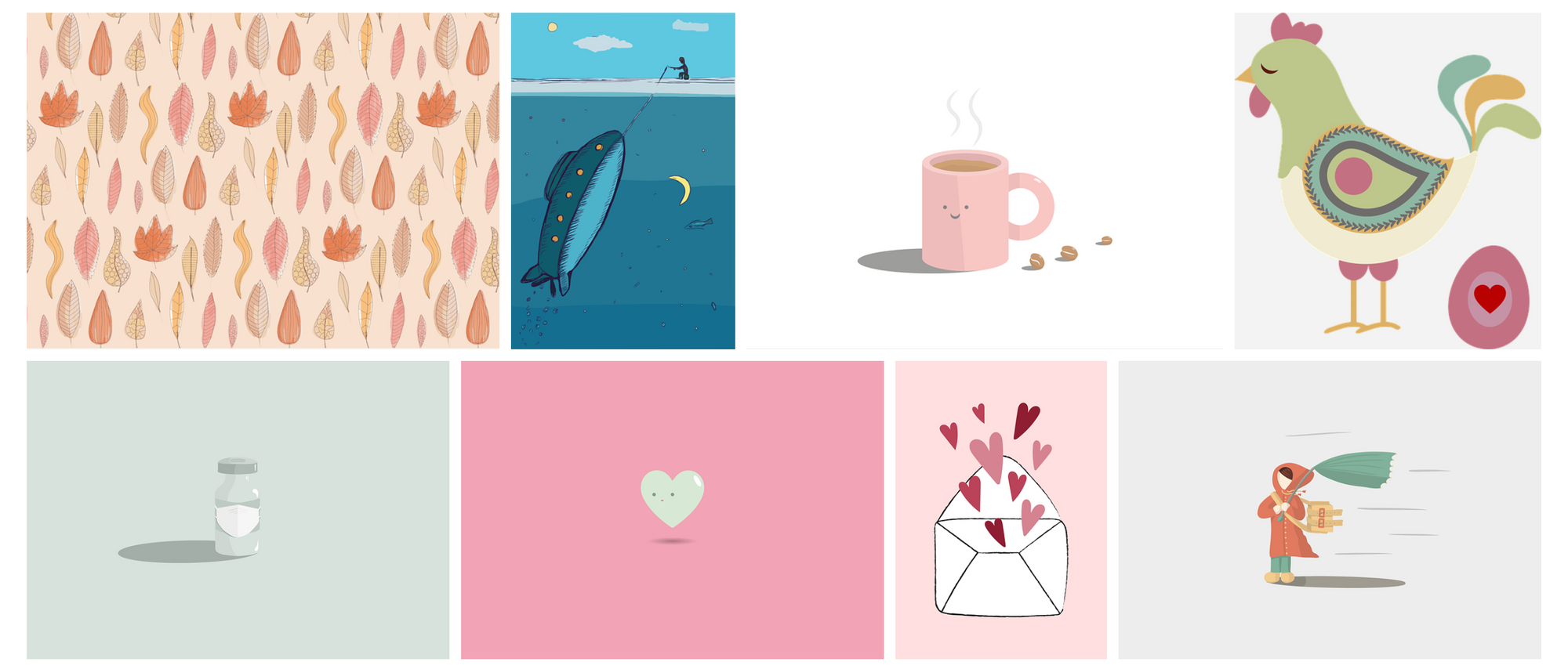 A screenshot featuring several vector illustrations in Pixabay.