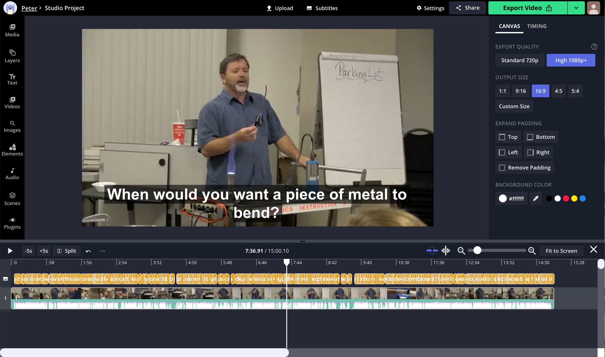 A screenshot of subtitles being added to a lecture recording in the Kapwing Studio.