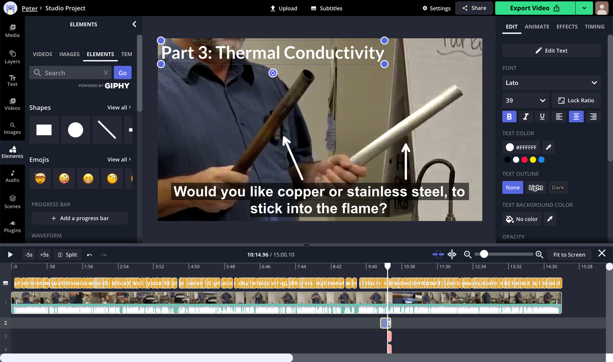 A screenshot of arrows and title text being added to a lecture recording in the Kapwing Studio.