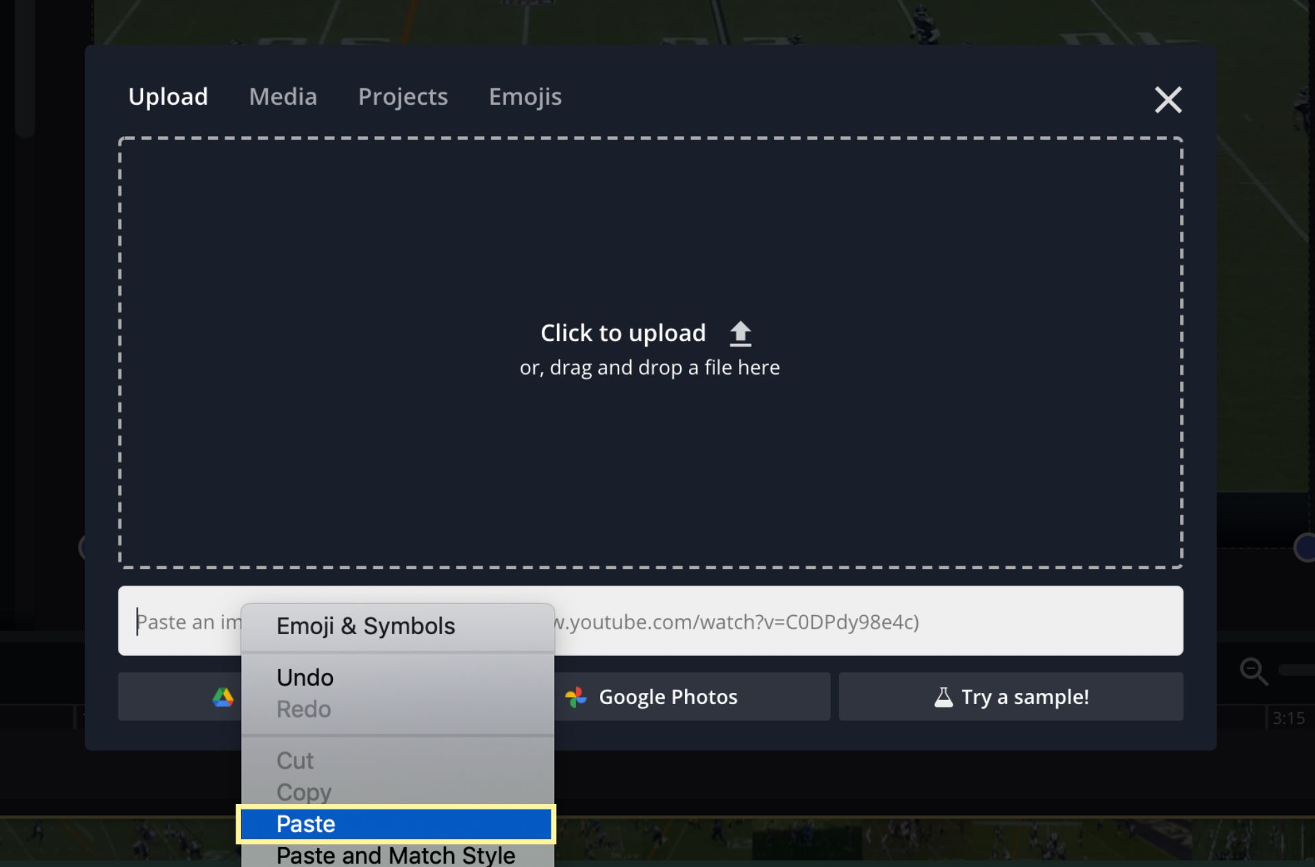 A screenshot showing you to upload videos to the Kapwing Studio from YouTube.